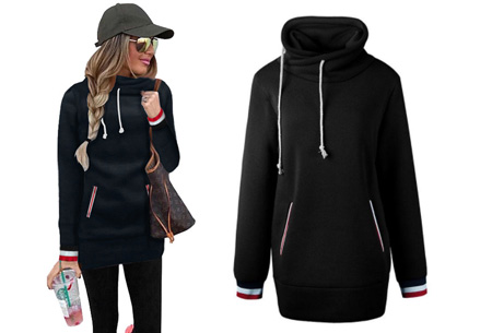 Colorful col sweater | Comfortabel, lang en extra zacht materiaal Zwart
