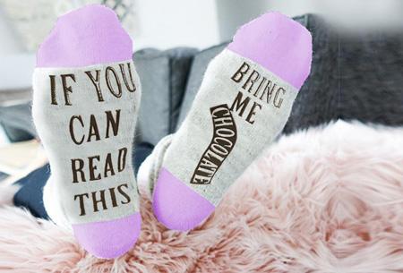 'Bring me chocolate' sokken | Origineel, grappig & in diverse kleuren Paars