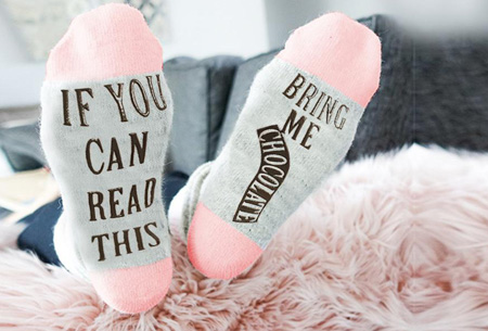 'Bring me chocolate' sokken Roze