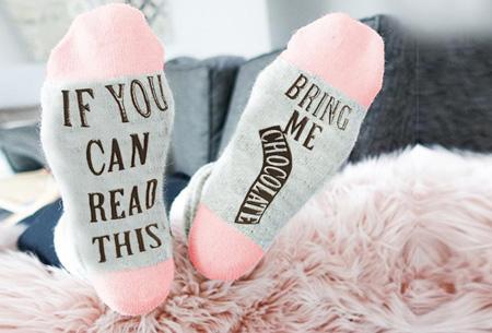 'Bring me chocolate' sokken | Origineel, grappig & in diverse kleuren Roze