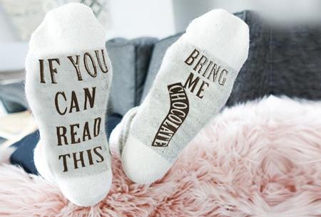 'Bring me chocolate' sokken | Origineel, grappig & in diverse kleuren Wit