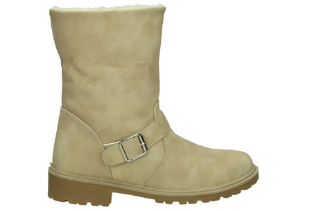 Gevoerde Buckle enkellaarsjes | De tijd van koude voeten is voorbij. Verkrijgbaar t/m maat 42 Beige
