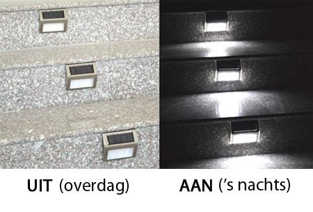 set van 2 led lampen op zonne energie met schemerfunctie twv 7995