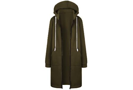 Lang hoodie vest | Heerlijk warm en comfortabel vest met fleece binnenzijde Army groen