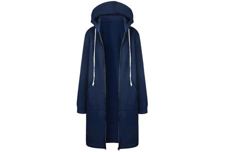 Lang hoodie vest | Heerlijk warm en comfortabel vest met fleece binnenzijde Blauw