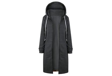 Lang hoodie vest | Heerlijk warm en comfortabel vest met fleece binnenzijde Donkergrijs