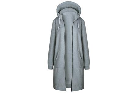 Lang hoodie vest | Heerlijk warm en comfortabel vest met fleece binnenzijde Lichtgrijs