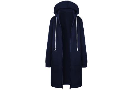 Lang hoodie vest Maat 5XL - Navy blauw