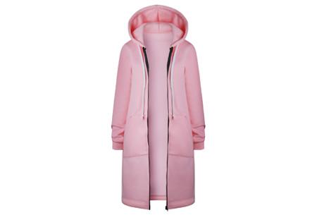 Lang hoodie vest | Heerlijk warm en comfortabel vest met fleece binnenzijde Roze