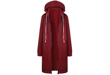 Lang hoodie vest | Heerlijk warm en comfortabel vest met fleece binnenzijde Wijnrood