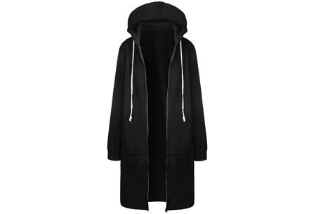 Lang hoodie vest | Heerlijk warm en comfortabel vest met fleece binnenzijde Zwart
