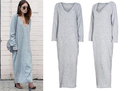 Lange sweater dress | Super comfy maxi jurk voor elk figuur lichtgrijs