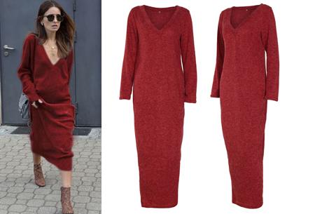 Lange sweater dress | Super comfy maxi jurk voor elk figuur rood