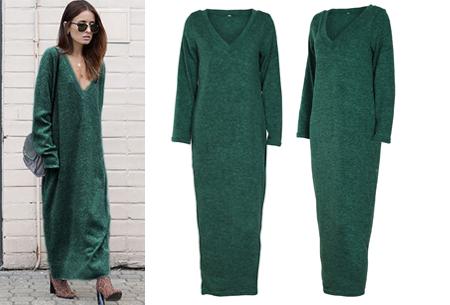 Lange sweater dress | Super comfy maxi jurk voor elk figuur groen