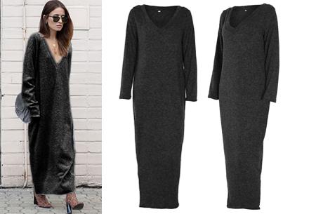 Lange sweater dress | Super comfy maxi jurk voor elk figuur donkergrijs