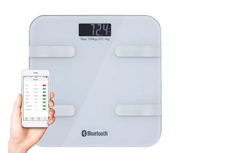 Bluetooth weegschaal met lichaamsanalyse | Meet o.a. je vocht- en vetpercentage & spier- en botmassa wit