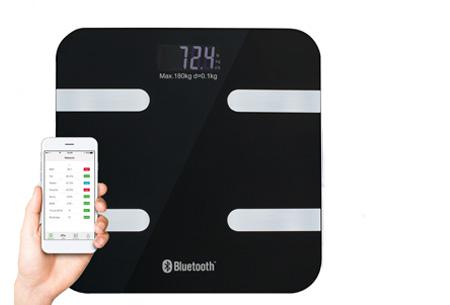 Bluetooth weegschaal met lichaamsanalyse | Meet o.a. je vocht- en vetpercentage & spier- en botmassa zwart
