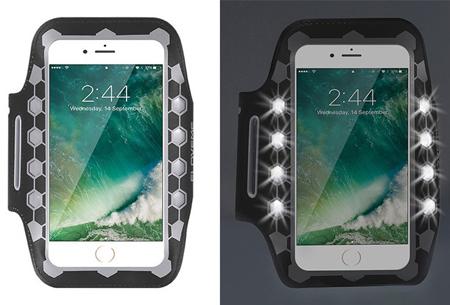 LED smartphone sportband | Veilig en zichtbaar in het donker grijs