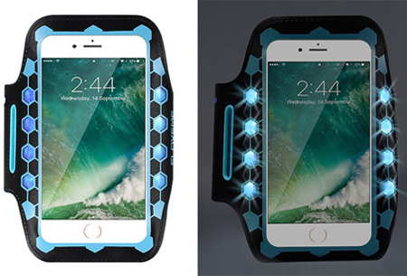 LED smartphone sportband | Veilig en zichtbaar in het donker blauw