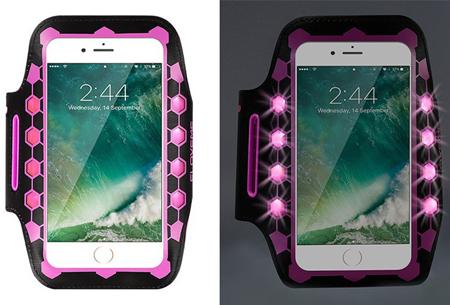 LED smartphone sportband | Veilig en zichtbaar in het donker roze