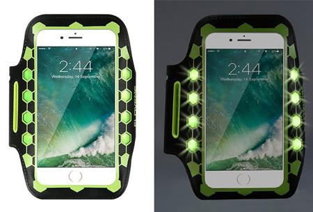 LED smartphone sportband | Veilig en zichtbaar in het donker groen