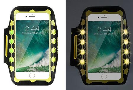 LED smartphone sportband | Veilig en zichtbaar in het donker geel
