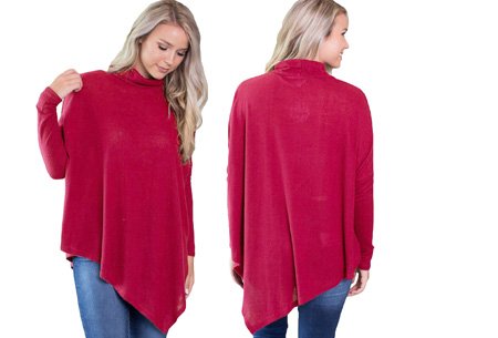 Oversized sweater | Verdoezelt de probleemzones en geeft een trendy look Rood