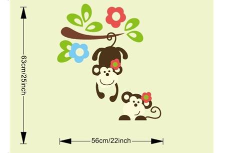 Muursticker met aapjes | De leukste kinderkamer decoratie