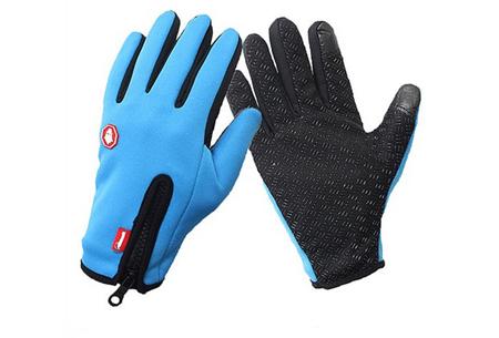 Tech fleece handschoenen | Bedien je smartphone met handschoenen aan tijdens de kou Blauw