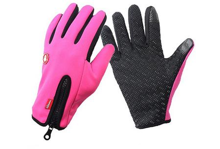 Tech fleece handschoenen | Bedien je smartphone met handschoenen aan tijdens de kou Roze