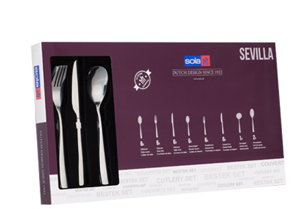 Sola bestekset Berlijn, Ibiza of Sevilla 39-delig of 70-delig   Topkwaliteit bestek in de aanbieding Sevilla 39-delig