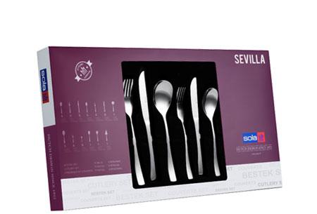 Sola bestekset Berlijn, Ibiza of Sevilla 39-delig of 70-delig   Topkwaliteit bestek in de aanbieding Sevilla 70-delig