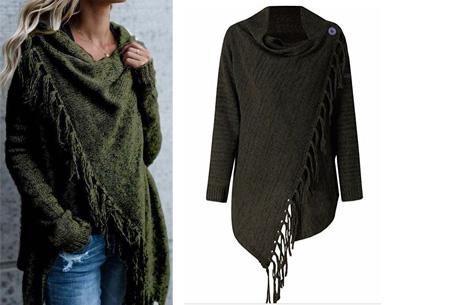 Knitted Tassel vest Maat M - Army groen
