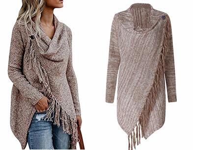 Knitted Tassel vest Maat L - Khaki