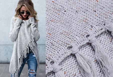 Knitted Tassel vest Maat L - Lichtgrijs