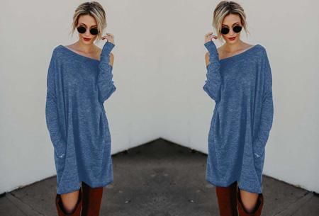 Soft sweater dress | Comfortabel & stijlvol blauw