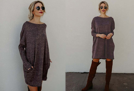 Soft sweater dress | Comfortabel & stijlvol donkerbruin