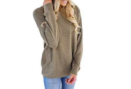 Loose fit top | Comfortabele basic met steekzakken khaki