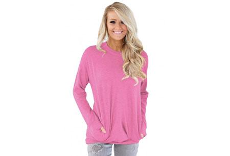 Loose fit top | Comfortabele basic met steekzakken roze