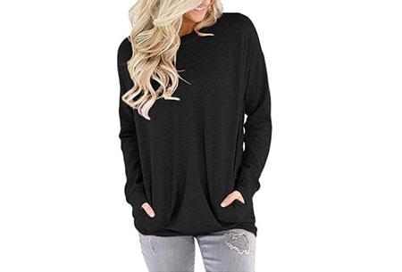 Loose fit top | Comfortabele basic met steekzakken zwart