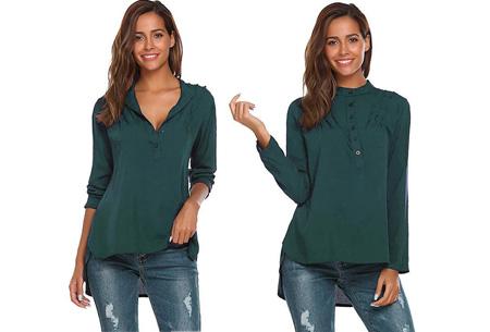 Classy button blouse   Stijlvolle basic Petrol
