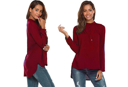 Classy button blouse   Stijlvolle basic Wijnrood