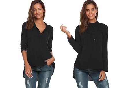 Classy button blouse   Stijlvolle basic Zwart