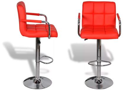 Barkrukken met armleuning   Set van 2 stuks Rood