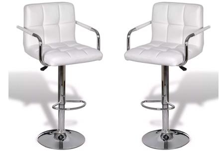 Barkrukken met armleuning   Set van 2 stuks Wit