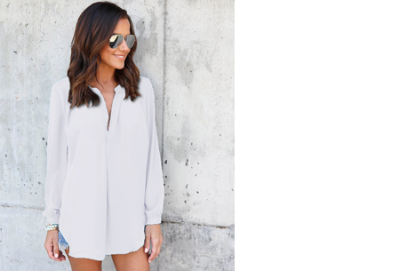 Elegance blouse   Lang & oversized model voor een stijlvolle look wit