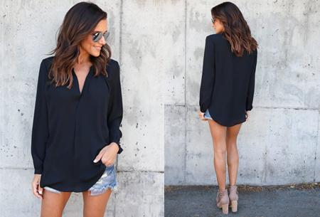 Elegance blouse   Lang & oversized model voor een stijlvolle look zwart