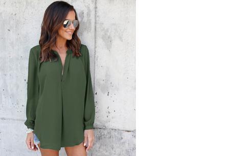 Elegance blouse   Lang & oversized model voor een stijlvolle look legergroen