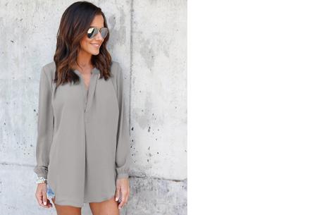 Elegance blouse   Lang & oversized model voor een stijlvolle look grijs