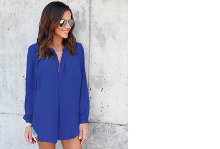Elegance blouse   Lang & oversized model voor een stijlvolle look donkerblauw
